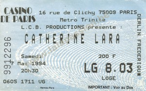 Billet concert Casino de Paris 1994