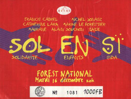 Billet cu concert de Sol en Si à Forest National Bemgique